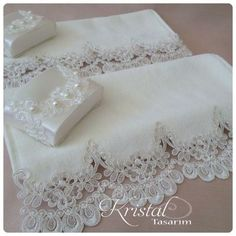 This lace would be really nice on pillow cases. Ribbon Embroidery, Embroidery Designs, Sewing Crafts, Sewing Projects, Towel Crafts, Shabby Chic Pink, Decorative Towels, Linens And Lace, Ribbon Work