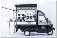 Black Coffee Van built on Piaggio Ape Food Cart Design, Food Truck Design, Piaggio Ape, Food Trucks, Coffee Food Truck, Prosecco Van, Mobile Coffee Shop, Coffee Trailer, Mobile Cafe