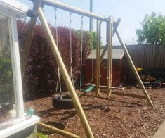 Triple Swing Frame with three double swing points for you to choose the swing seats to suit the age and ability of the children using it. Wooden Swing Frame, Wooden Swings, Double Swing, Swing Seat, Wooden Garden, Projects To Try, Garden Products, Chloe, Truck