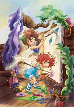 old fashioned disney fairies painting