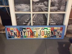 ENJOY THE JOURNEY License Plate Letter Sign Unique and fun Wood Art Craft Any Word Saying or Phrase The SHIPPING charge is for ONE sign only.If you want more than one sign please contact me. I will do