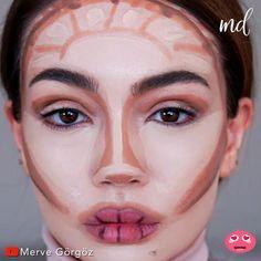 Face Contouring Makeup, Nose Makeup, Makeup Tutorial Eyeliner, Eyebrow Makeup, Skin Makeup, Contour Makeup Tutorials, Make Up Contouring, Face Contouring Tutorial, Contouring For Beginners
