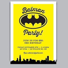 BATMAN PARTY Birthday Invitation