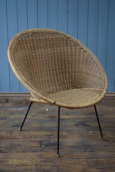 Elegant Vintage Satellite Round Circle Bamboo Cane Wicker Rattan Tub Chair  Mid Century