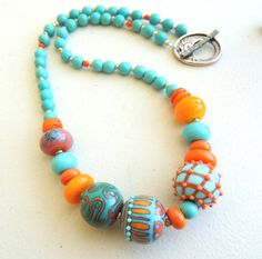 Artisan Lampwork and Turquoise Lampwork Necklace by rickitic  LOVE the colors!!