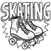 patinaje sobre ruedas : Rodillo de patinaje estilo Doodle ilustración en formato vectorial Incluye texto y patines Foto de archivo