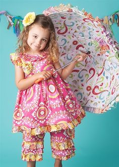 Mustard Pie Clothing - Girls Hannah Dress in Pink & Yellow