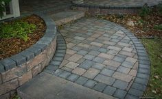 Front Walkway with Steps Ideas | Paver front door entrance.