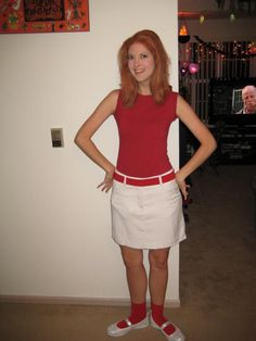 Halloween costume -me dressed up as Candace from Phineas and Ferb, just need a pink cell phone too