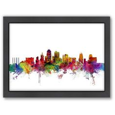Americanflat Michael Tompsett ''Kansas City Skyline Ii'' Framed Wall... ($70) ❤ liked on Polyvore featuring home, home decor, wall art, multicolor, horizontal wall art, colorful home decor, cityscape wall art, framed wall art and colorful wall art