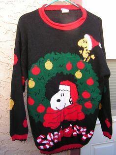 Vintage Snoopy & Friends Christmas Sweater / Peanuts Woodstock Wreath Ornaments Holiday Sweater  Super cute Snoopy and Woodstock Christmas sweater
