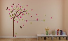 Colorful Cherry Blossom Tree With Butterfly Wall Decals– WallDecalMall.com