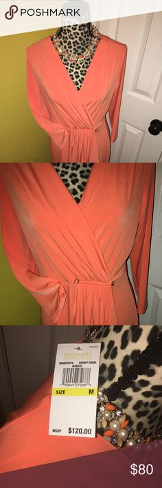 BEAUTIFUL ORANGE MICHAEL KORS DRESS Beautiful faux wrap with metal chrome embellishment long sleeve. Very comfortable relaxed fit for any event!!! BNWT! NEVER WORN! Michael Kors Dresses Long Sleeve