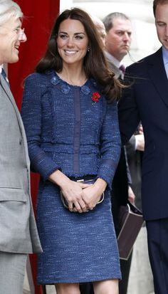 Pin for Later: A Royal Rhapsody in Blue: No Prizes For Guessing Kate's Favourite Colour  Rebecca Taylor was the designer behind this tweed suit.