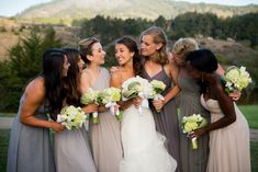 Mix-and-match bridesmaid dresses - long, neutral bridesmaid dresses {Hunter & Company Event Planning and Design}