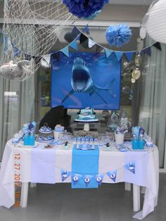 Sharks / Birthday / Featured Photo:   Love the shark poster! Also did three tones of blue for balloons.
