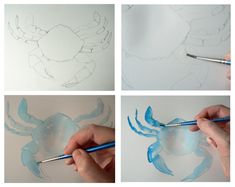 Here we go – for those who want to know how to paint a crab in watercolour – I drew the outline of the crab then painted his entire surface with clean water. This gets the paper …