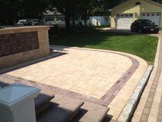 Add a border around your patio to create a pattern. www.stonecreationsoflongisland.net #cambridge #pavers #pavingstones #armortec #cambridgepavers #cambridgepavingstones #outdoorliving #patio