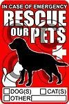 "Rescue Pets decal 3.6"" x 6"" save cat dog fire alert emergency window sticker"