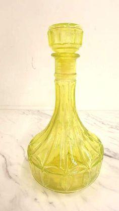shopgoodwill.com: Vintage Yellow Vaseline Glass Liquor Decanter