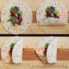 Ako zabaliť tortillu Fajitas, Camembert Cheese, Diy And Crafts, Food And Drink, Bread, Tortillas, Recipes, Nova, Mince Pies