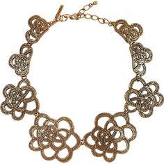 Oscar de la Renta 24-karat gold-plated flower necklace ($545) ❤ liked on Polyvore