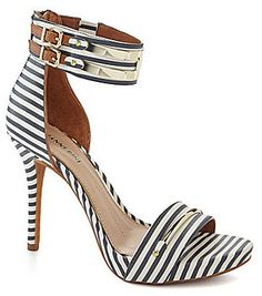 Gianni Bini Lilliana Striped Metal Bit Dress Sandals