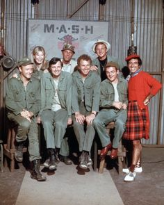 M*A*S*H. Bottom row, left to right: Frank Burns, Hawkeye Pierce, Trapper (John) McIntyre, Radar O'riley, Max Klinger.  Top row, left to right: Magaret Houlihan, Henry Blake, and Father Mulcahy.
