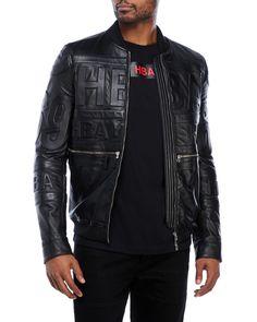 Hood By Air Logo Embossed Leather Jacket