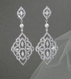 Crystal Bridal earrings, Chandelier Pearl Wedding jewelry Swarovski Crystal Wedding earrings Bridal jewelry, Mackenzie Earrings on Etsy, $55.00