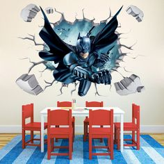 "cm DIY Batman Wall Stickers Removable Wall Stickers Decals Mural Art Batman Hero Poster For Kids Room Home Decor"" Kids Room Murals, Bedroom Murals, Kids Room Wall Art, Boys Room Decor, Bedroom Wall, Graffiti Bedroom, Room Art, Kids Bedroom, Bedroom Decor"