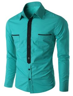 Doublju Men's Button Down Casual Shirt with Contrast Placket (CMTSTL013) #doublju