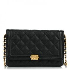 This is an authentic CHANEL Caviar Quilted Boy Wallet On Chain WOC in Black. This stunning wallet on chain is crafted of luxurious diamond quilted caviar leather in black with a peripheral linear border quilting.