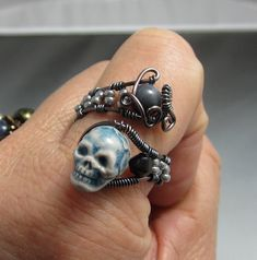 Handmade Wire Wrap Skull Ring, Copper Wire Wrap Skull Bead Ring, studiodct. $26.00, via Etsy.