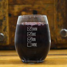 Triathlon Stemless Wine Glass Swim Bike Run Checklist | Triathlon Engraved Wine Glasses | Triathlon Barware