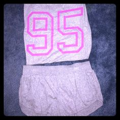 FOREVER 21 PJ SET Forever 21 gray pj set. 3/4 length sleeves and comfy lounge shorts. It's slightly sparkly too which is super cute Forever 21 Other