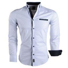 d74ea629379d5c Megaman - Trendy Men Shirt mit Punkt-Motiv - 930 - Weiß | für Herren | Moda  Italia Trendy Online Fashion