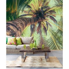 exoitc decor idea with a tropical chic wall mural inspired by the island of Ibiza 330285 Green Vertical Palm View - La Palmera - Eijffinger Wallpaper bring a palm tree inside!