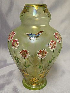 Moser Glass by 'Fritz Heckert' Art Deco Nouveau Enameled Floral Butterfly | eBay