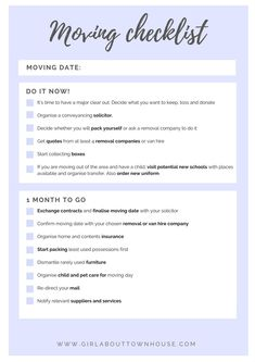 Ultimate Moving Checklist Free Printable  Townhouse Organizing