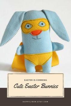Easter Bunny, Easter Gift, Easter Basket Gift, SuperHero Doll, Bunny Plush toy ,Blue Cute Bunny Stuffed Animal, Blue Hare Doll, Rabbit plushy Toy, Crib Nursery Decor, baby Birthday gift
