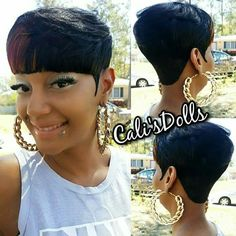 I love her bob cut Short Quick Weave Hairstyles, 27 Piece Hairstyles, Short Hair Dos, Super Short Hair, Cute Hairstyles For Short Hair, My Hairstyle, Black Girls Hairstyles, Pretty Hairstyles, Braided Hairstyles