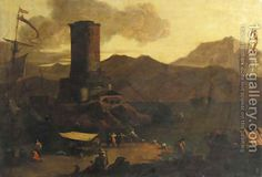 Adriaen Van Der Kabel:A Mediterranean coastal landscape with fishermen and merchants on a quay by a ruined tower, at sunset