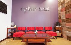 Colors, chairs, font for sign  Wynkoop Dental - Dental Office Design by JoeArchitect in Denver Colorado
