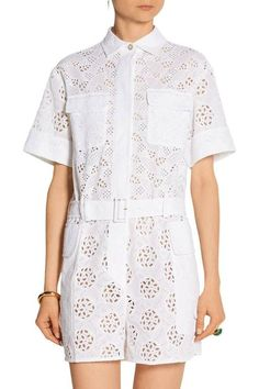 Valentino White Broderie Anglaise Cotton-blend Playsuit Jumpsuit