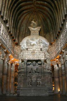 Inside Ajanta Cave 26 . Maharashtra