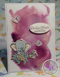 Zur Geburt mit Aquarellhintergrund 2nd Baby, Watercolor Background, Cards