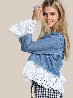 Lace Applique Denim Jacket DENIM | SHEIN