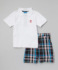 Look at this #zulilyfind! White & Blue Plaid Polo & Shorts - Infant & Toddler by Weeplay Kids #zulilyfinds  8.99