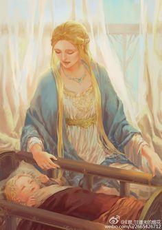 Idril Celebrindal with baby Earendil Ardamire in Gondolin by Egorit
